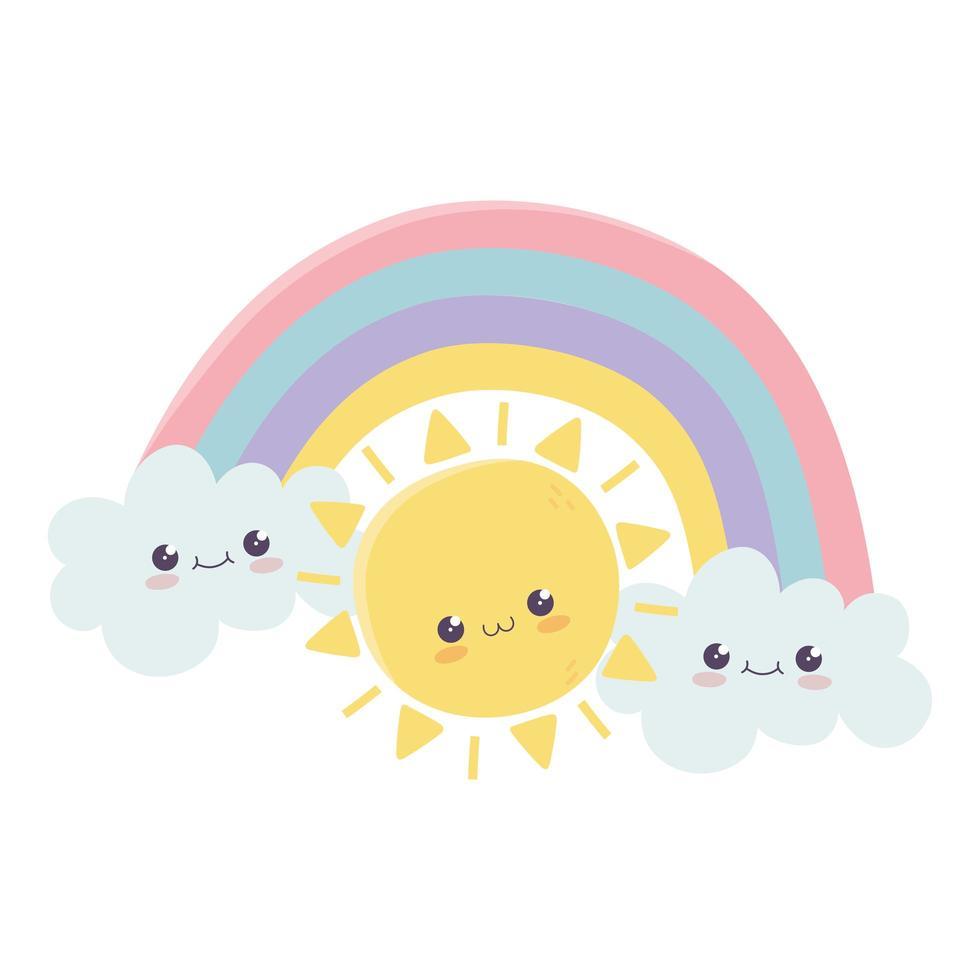 schattige zon regenboog wolken hallo kawaii stripfiguur vector