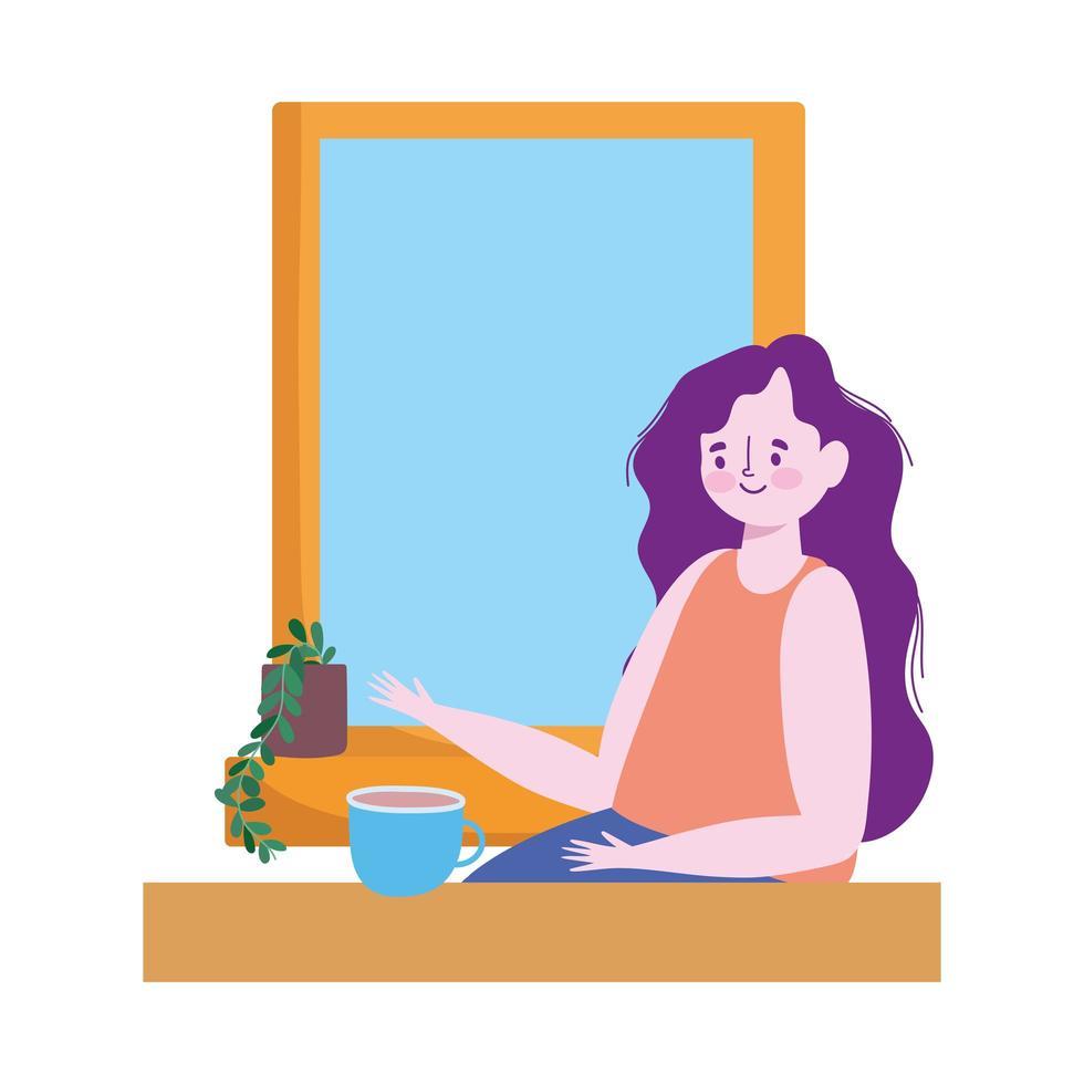 vrouw met koffiekopje in raam, afstand houden voor infectierisico ziekte-uitbraak, covid 19 vector