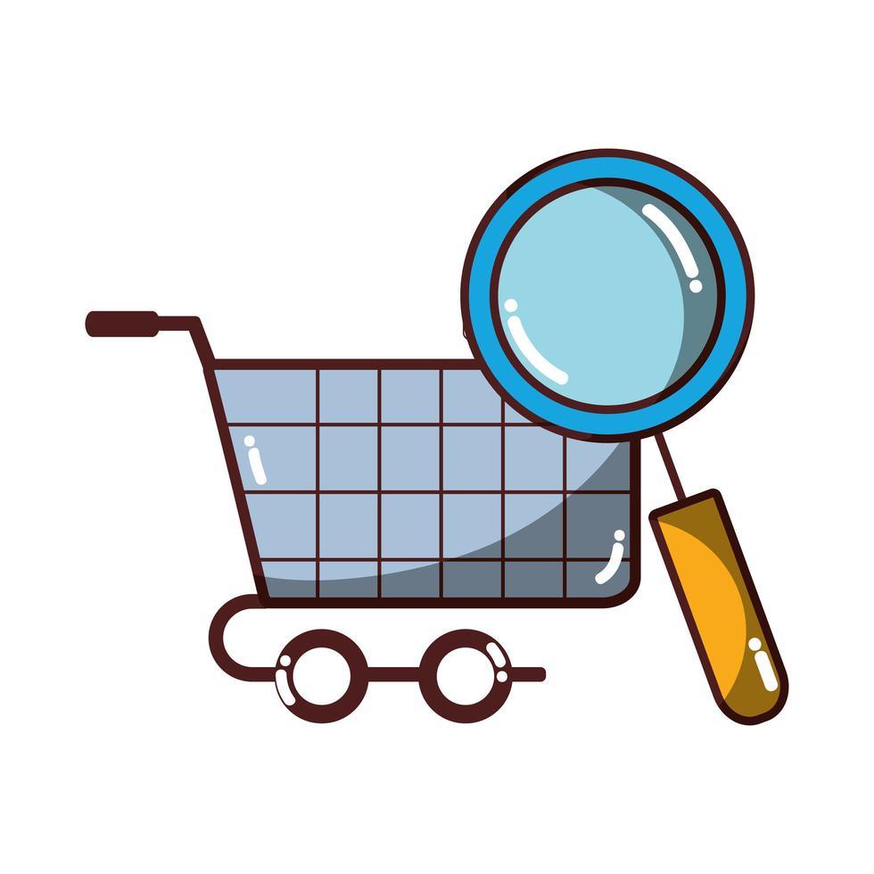 winkelwagentje met geïsoleerd vergrootglas pictogram ontwerp schaduw vector