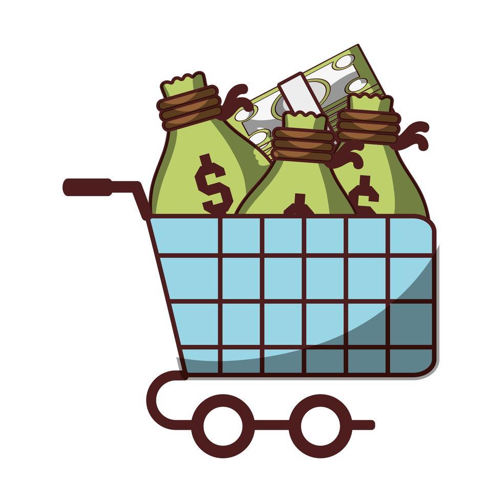 winkelwagentje met zak geld en bankbiljetten pictogram geïsoleerde ontwerp schaduw vector