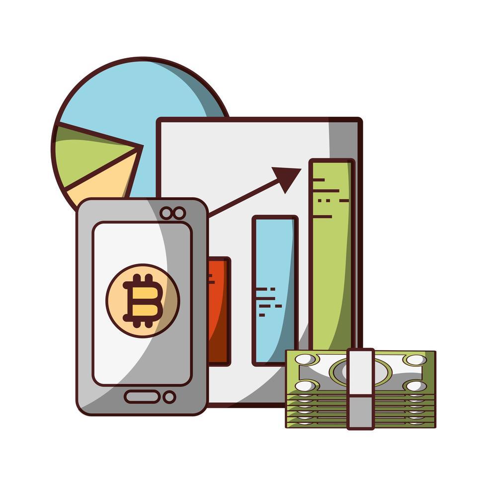 bitcoin smartphone bankbiljetten statistieken geld bankbiljetten cryptocurrency transactie digitaal vector