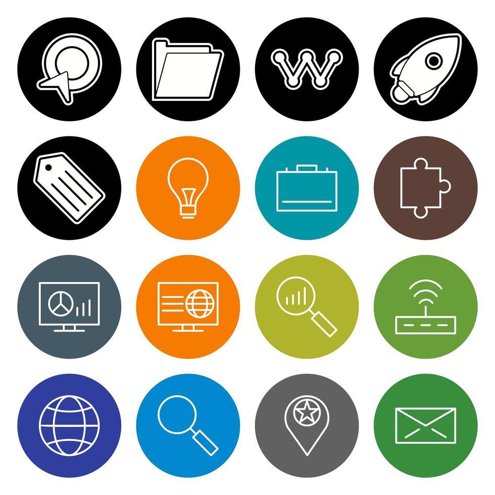 icon set van zoekmachineoptimalisatie voor persoonlijk en commercieel gebruik ... vector