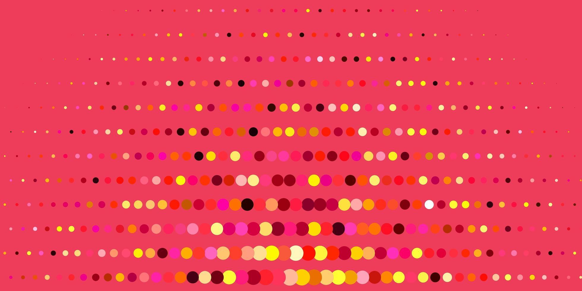 donkerroze, gele vector sjabloon met cirkels