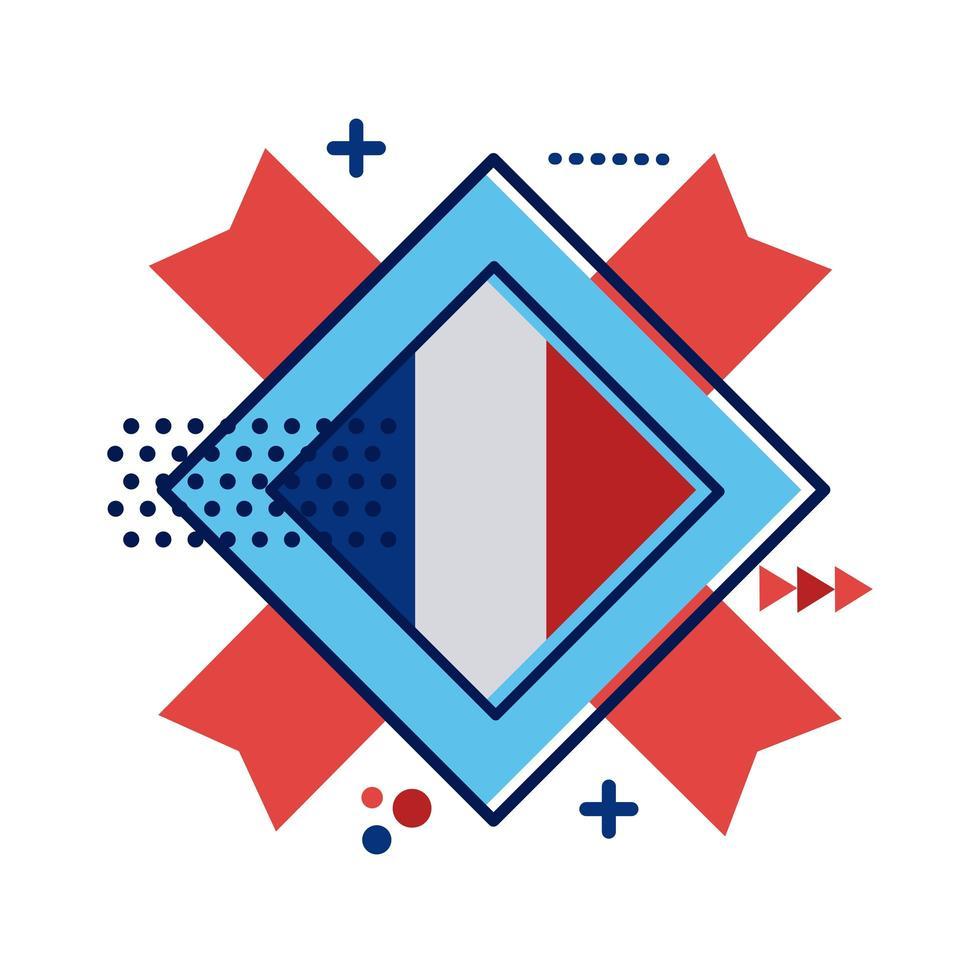 Frankrijk vlag stempel platte stijlicoon vector