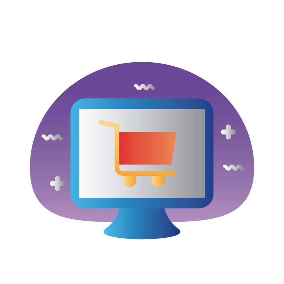 winkelwagentje in desktop kleurovergang stijlicoon vector