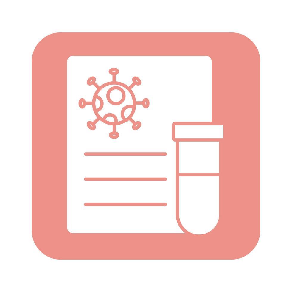 covid19-virusdeeltje in document met reageerbuislijnstijl vector