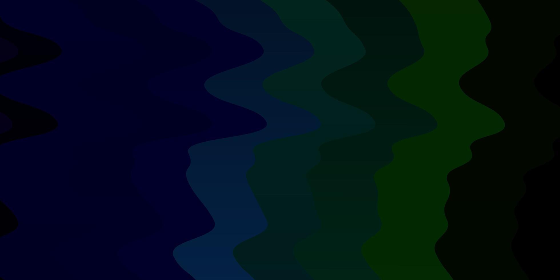 donkerblauw, groen vectorpatroon met gebogen lijnen. vector