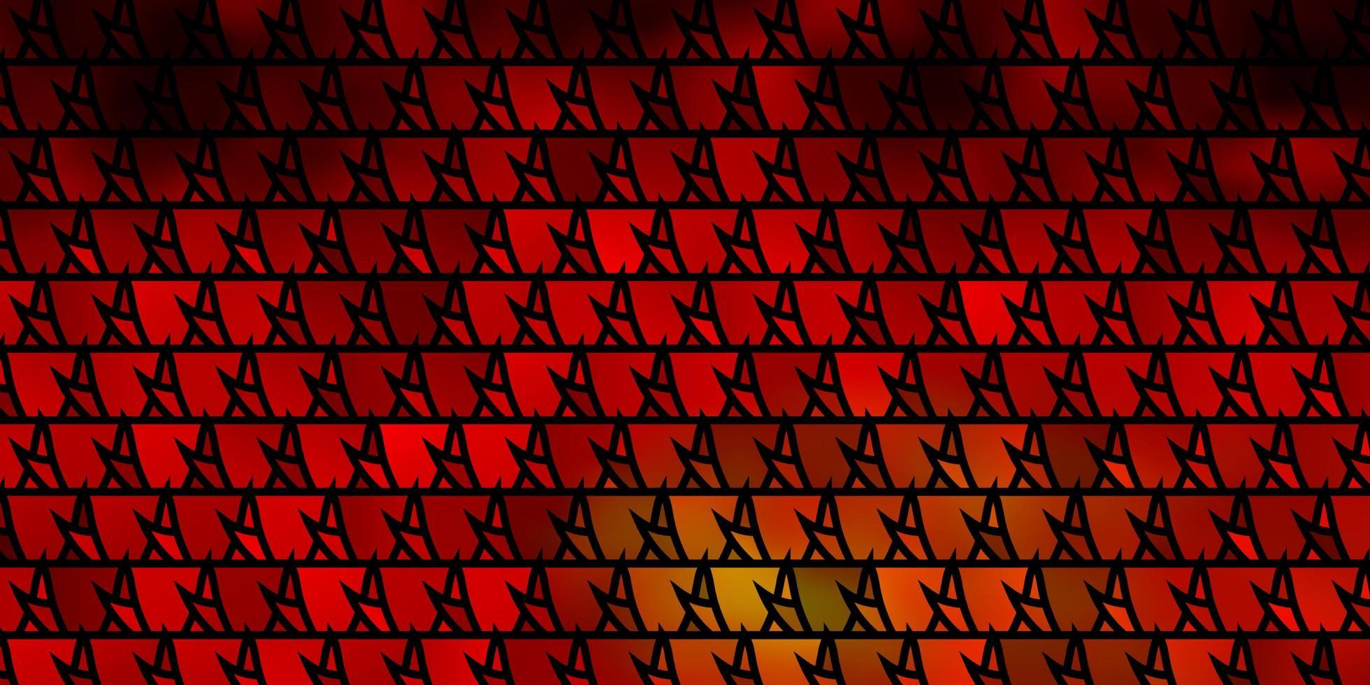 donkerrode, gele vectorlay-out met lijnen, driehoeken. vector