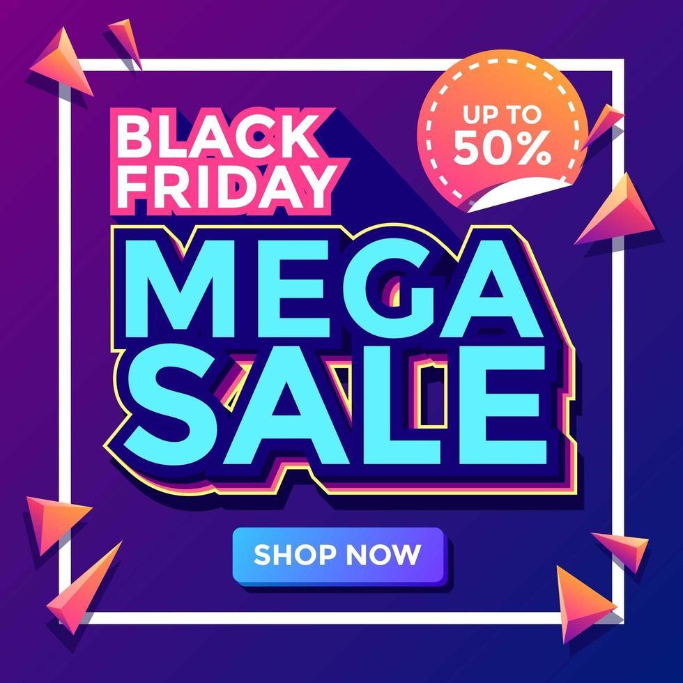zwarte vrijdag mega-verkoopsjabloon vector