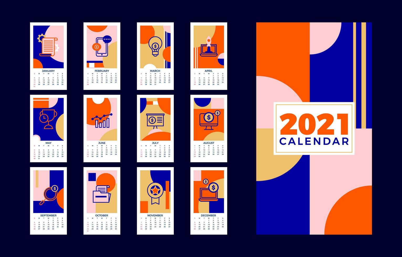 kunstzinnige zakelijke kalender 2021 vector