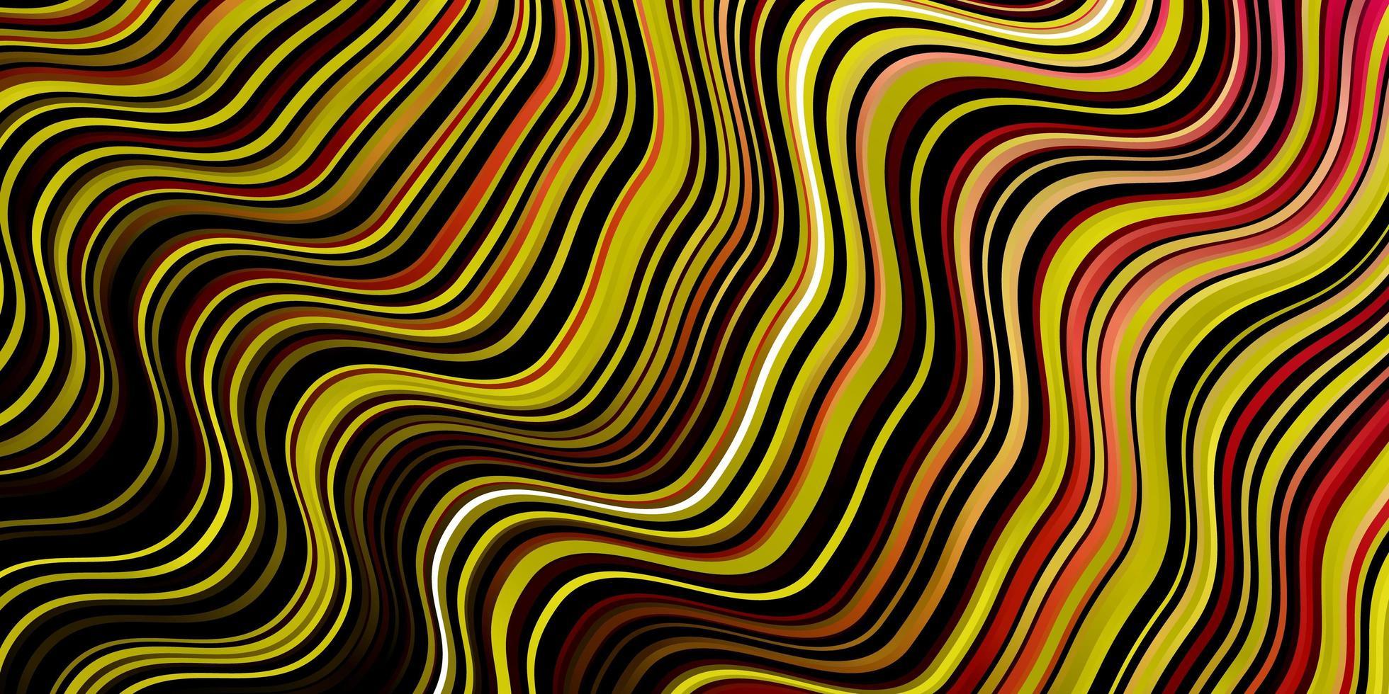 donkerroze, geel vector sjabloon met curven.