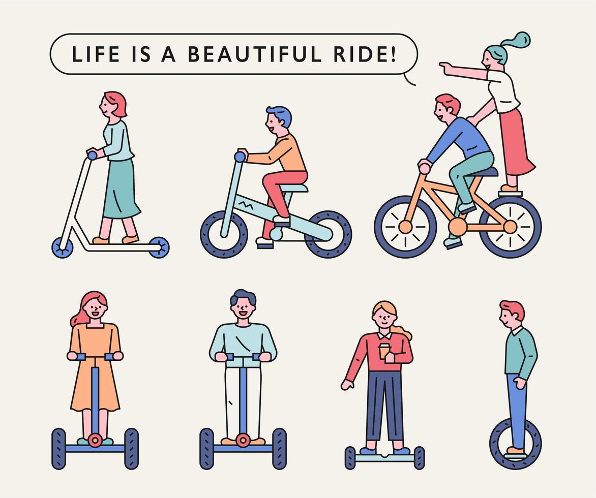 mensen rijden op verschillende vervoermiddelen. vector