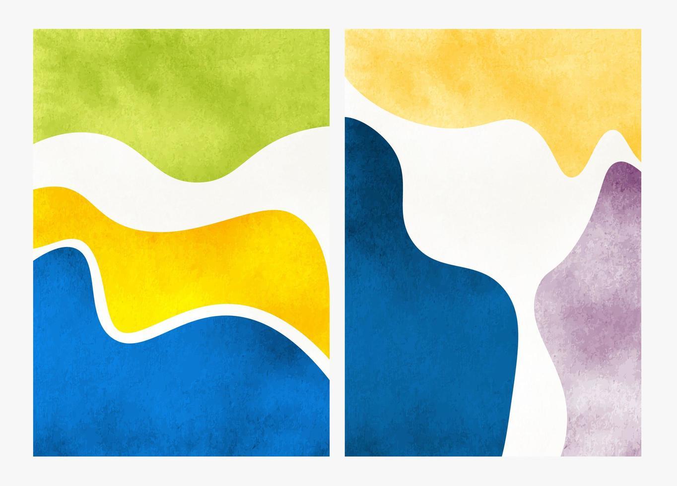 set handgeschilderde abstracte aquarel achtergronden vector