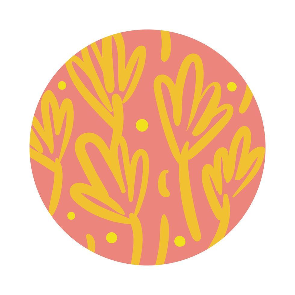 tak en bladeren organische patroonblokstijl vector