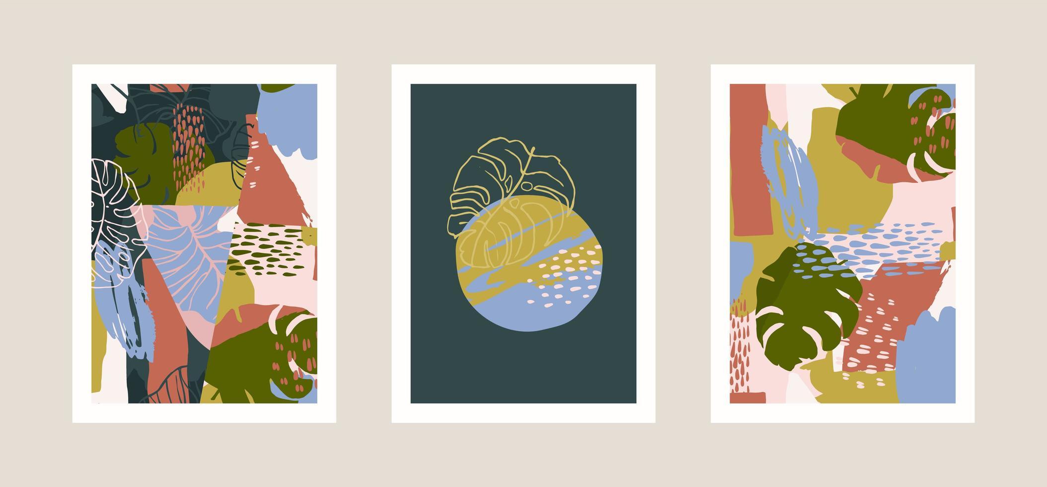 verzameling art prints met abstracte tropische bladeren. modern ontwerp voor posters, covers, kaarten, interieur en andere gebruikers. vector