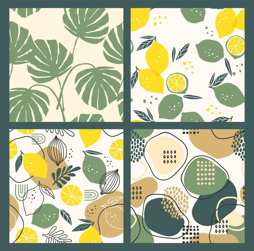 abstracte verzameling van naadloze patronen met citroenen, bladeren en geometrische vormen. modern ontwerp vector