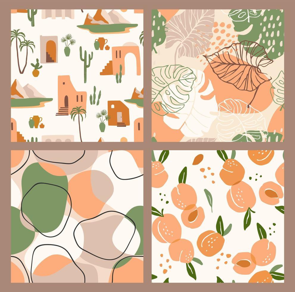 abstracte verzameling van naadloze patronen met abrikozen, landschap, bladeren en geometrische vormen. modern ontwerp vector
