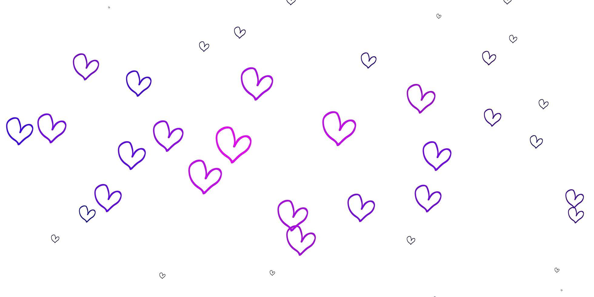 lichtpaarse vectortextuur met mooie harten. vector