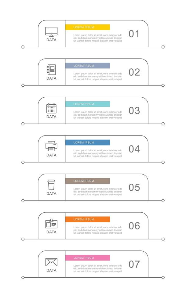 7 gegevens zakelijke infographics sjabloon met dunne lijn ontwerp vector