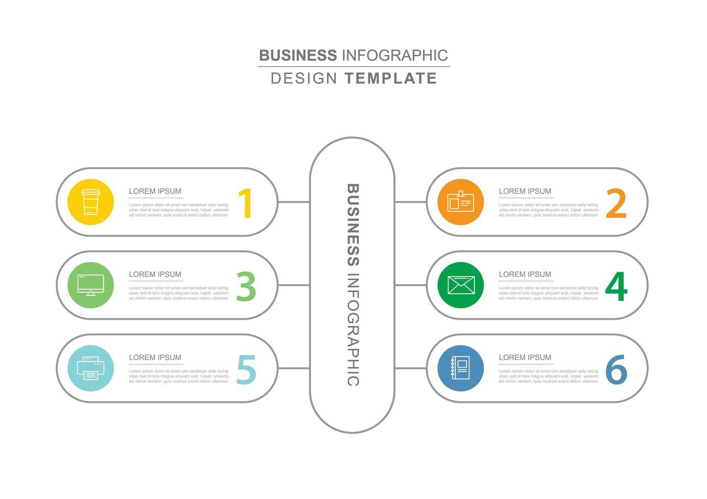 6 data business infographics sjabloon met dunne lijn ontwerp vector