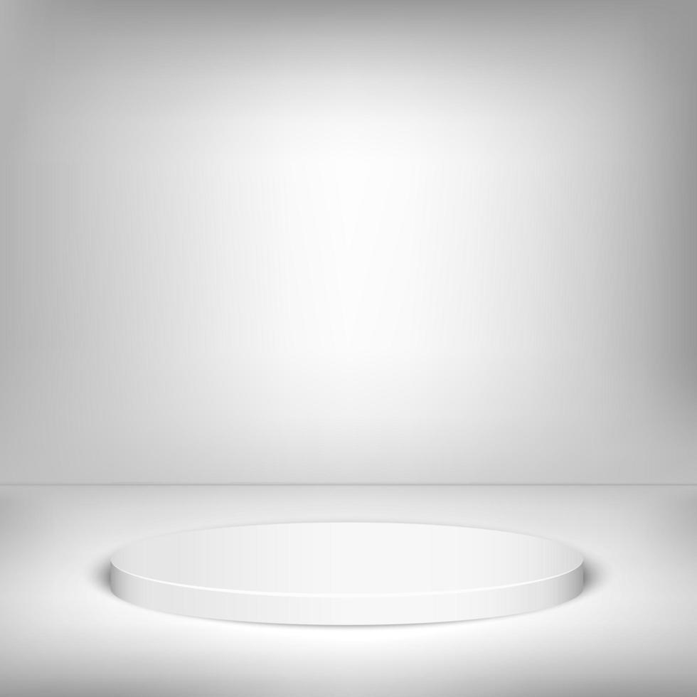 3D-fase ronde winnaar podium witte achtergrond. vector illustratie