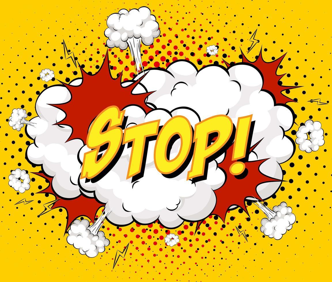 stop tekst op komische wolk explosie op gele achtergrond vector