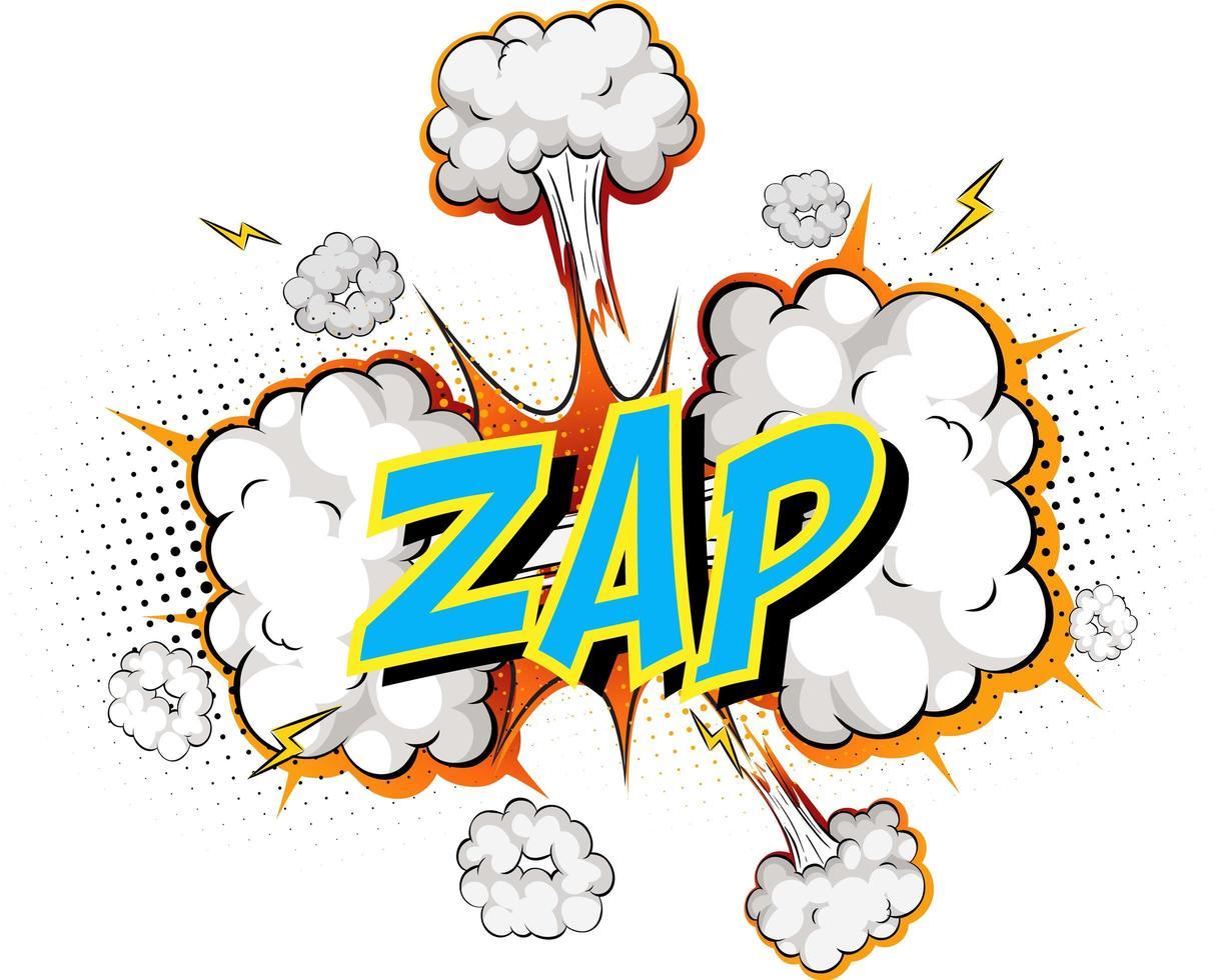 woord zap op komische wolk explosie achtergrond vector