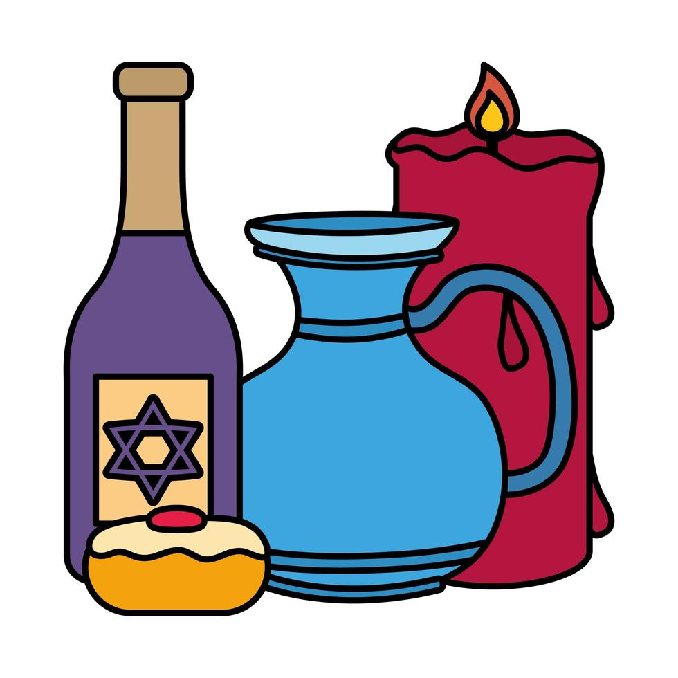 happy chanoeka theepot pot met fles wijn en cupcake vector