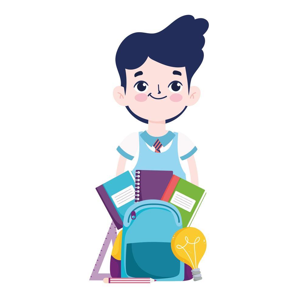 terug naar school, student jongen boeken tas potloden basisonderwijs cartoon vector
