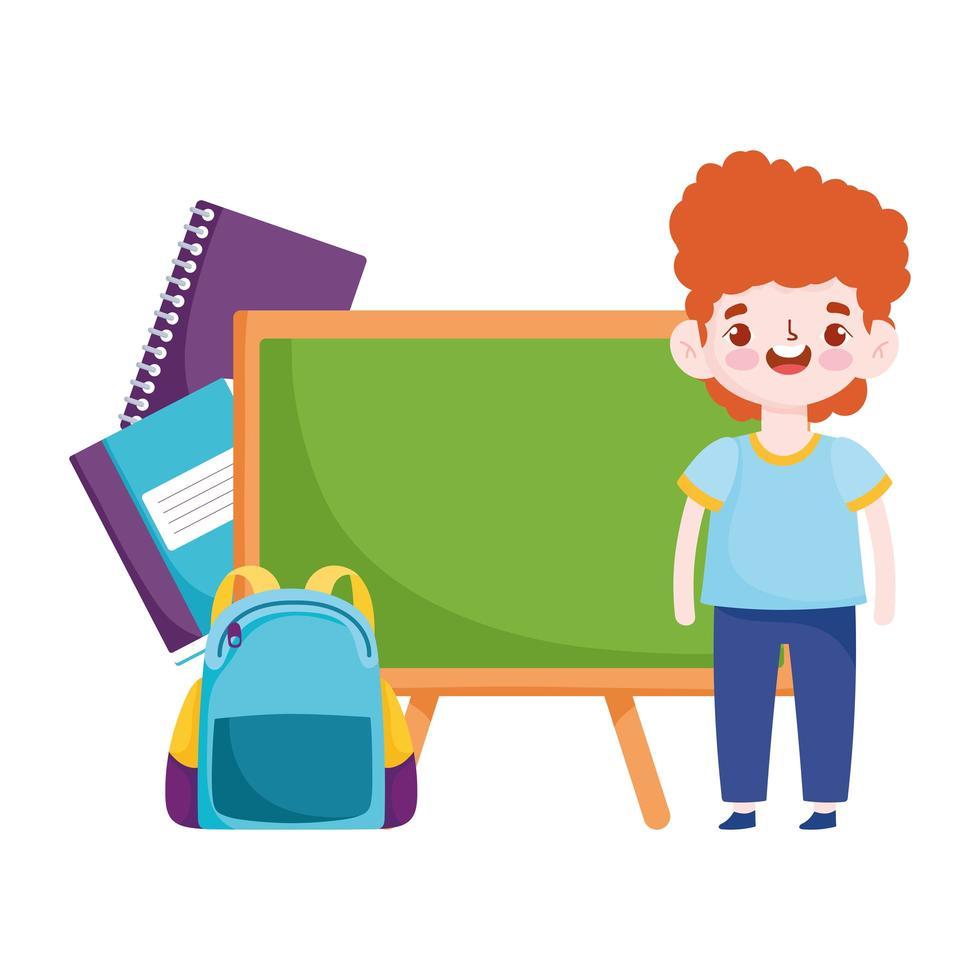 terug naar school, student jongen boeken schoolbord en tas elementair onderwijs cartoon vector