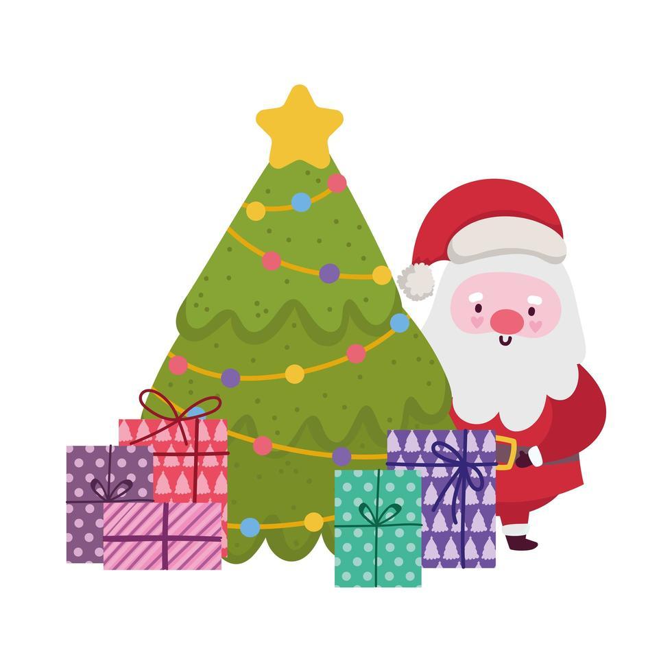 vrolijk kerstfeest, schattige kerstman boom en geschenkdozen viering, geïsoleerd ontwerp vector