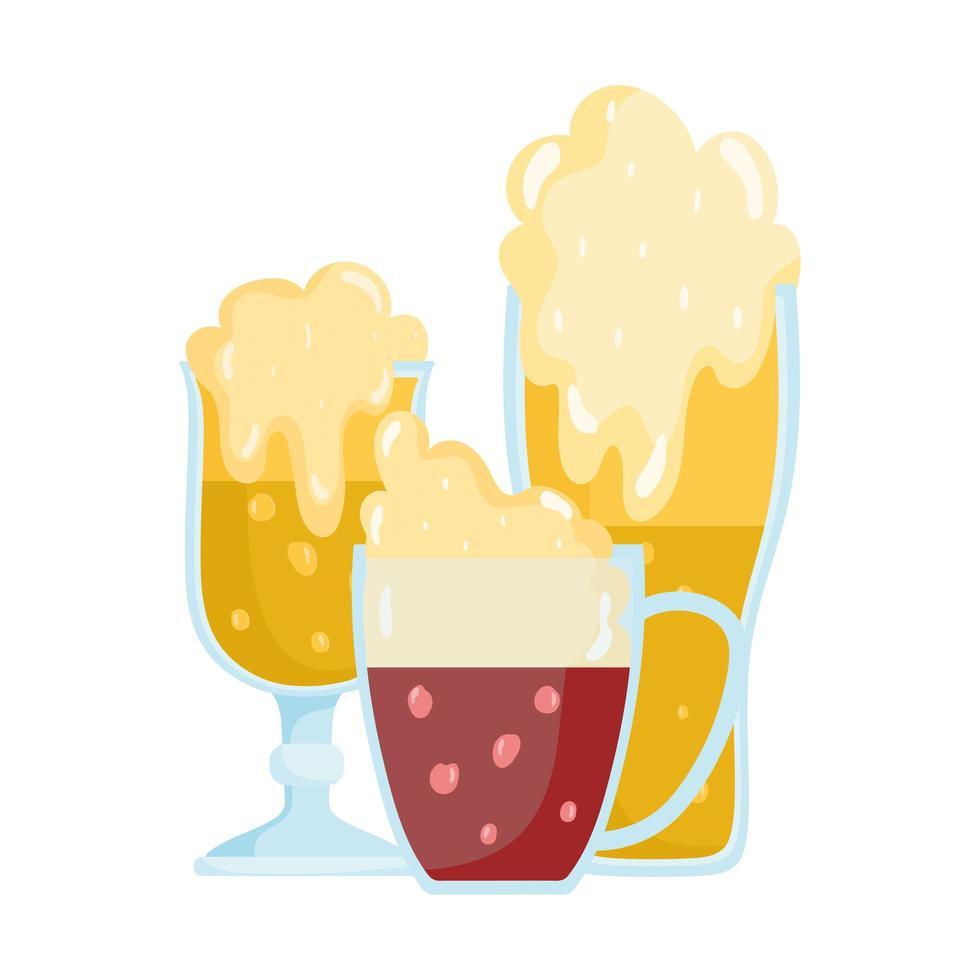 Oktoberfest Festival, Glaswerk Bieren Schuimdranken Traditionele Duitse Viering vector