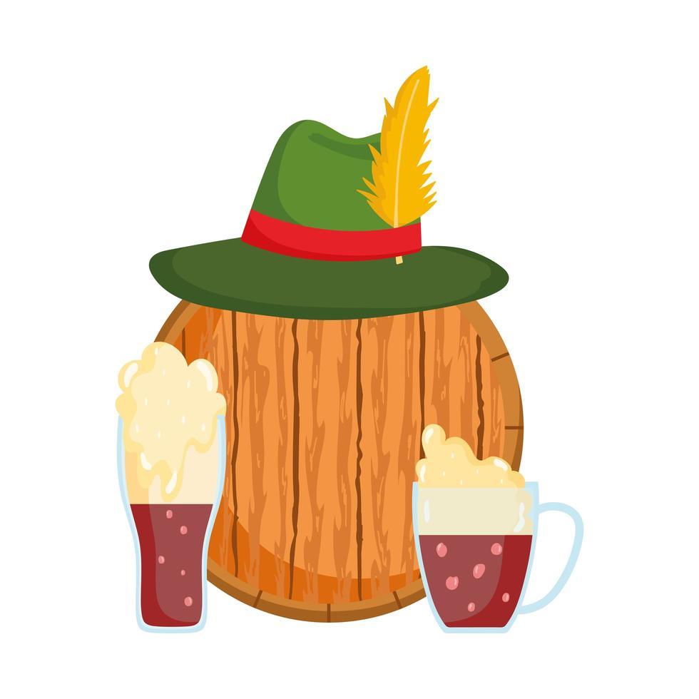 Oktoberfest-festival, hoed op houten vat en zwarte bieren, traditionele Duitse viering vector
