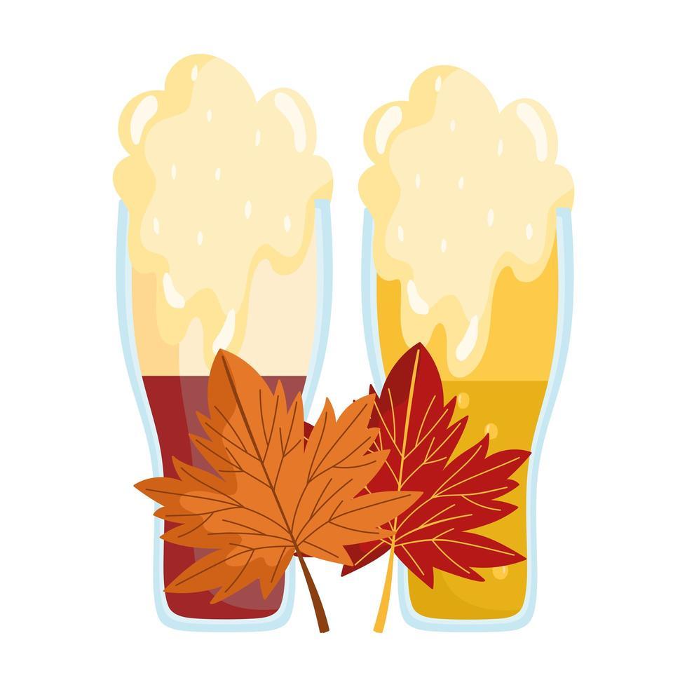 Oktoberfestfestival, bierschuim en esdoornbladeren, traditionele Duitse viering vector
