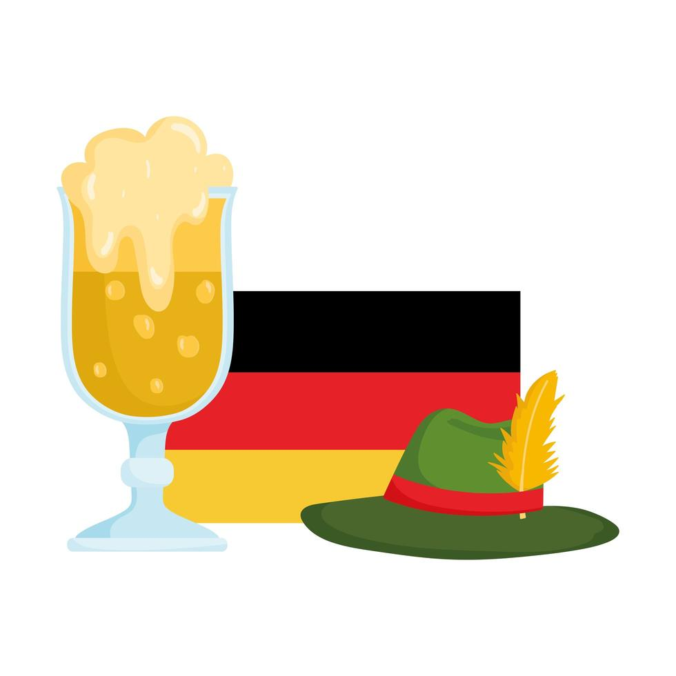 Oktoberfestfestival, Duitse vlaghoed en bier, traditionele Duitse viering vector