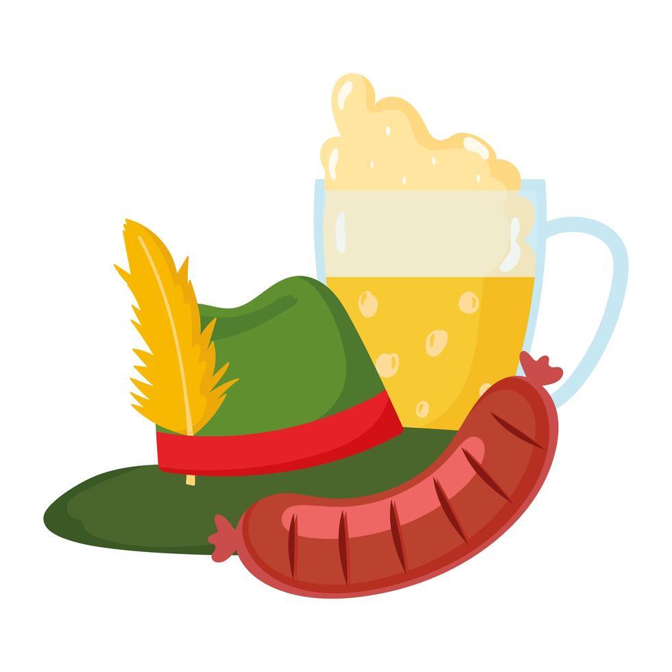 Oktoberfest-festival, worstbier met schuim en hoed, traditionele Duitse viering vector
