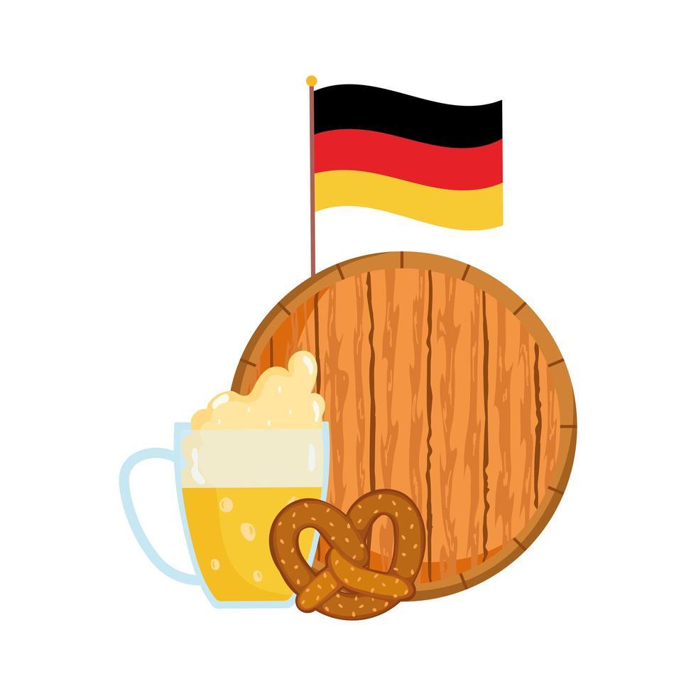 Oktoberfest-festival, Duitse vlagbier en krakeling, traditionele Duitse viering vector