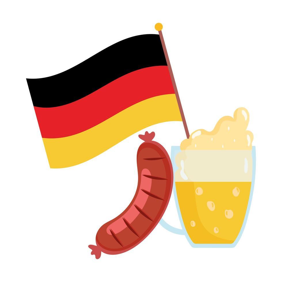 Oktoberfestfestival, vlagworst en bier, traditionele Duitse viering vector
