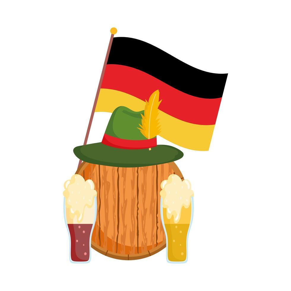 Oktoberfest-festival, vlag van de vathoed en bier, traditionele Duitse viering vector
