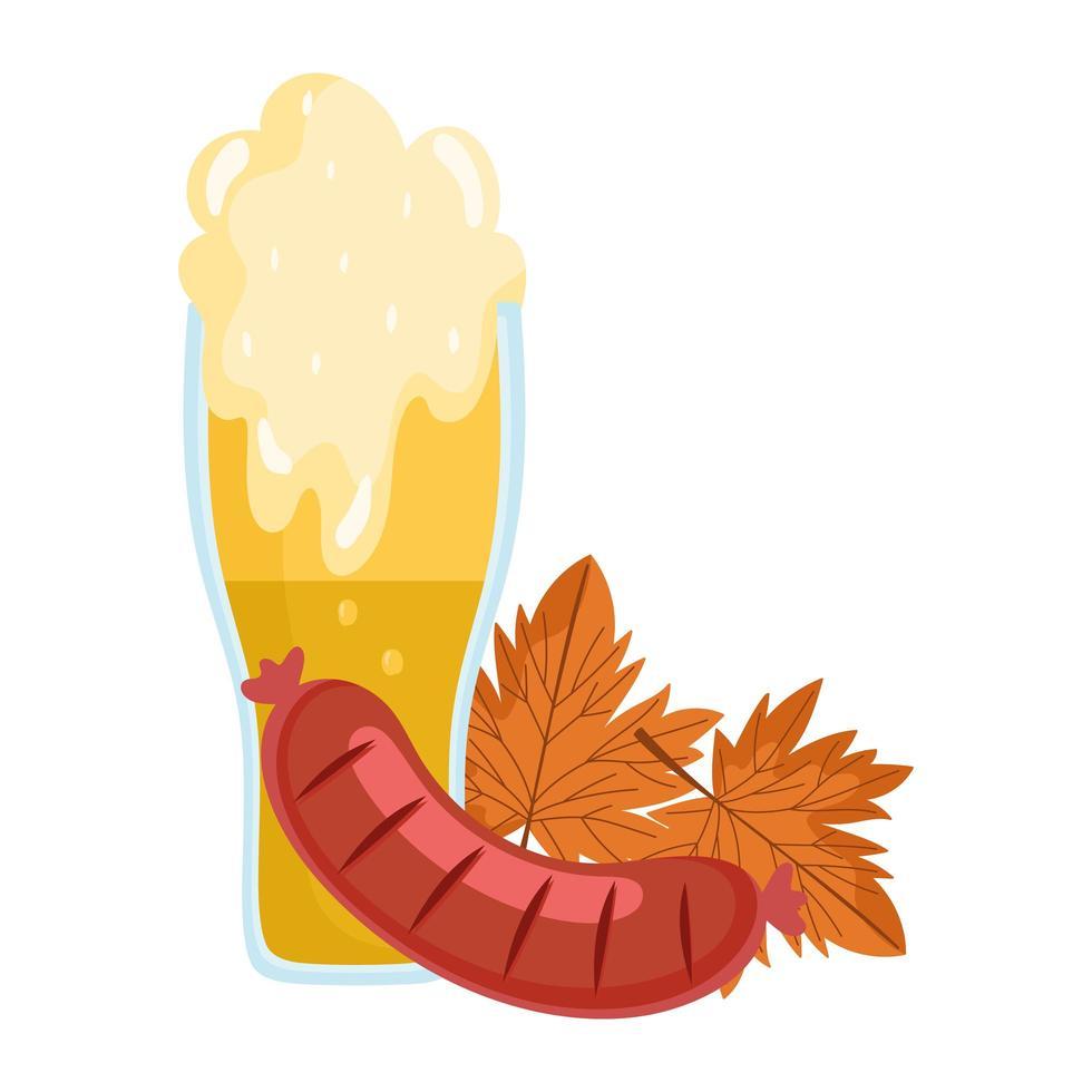 oktoberfest festival, worst en bierblad herfst, traditionele Duitse viering vector