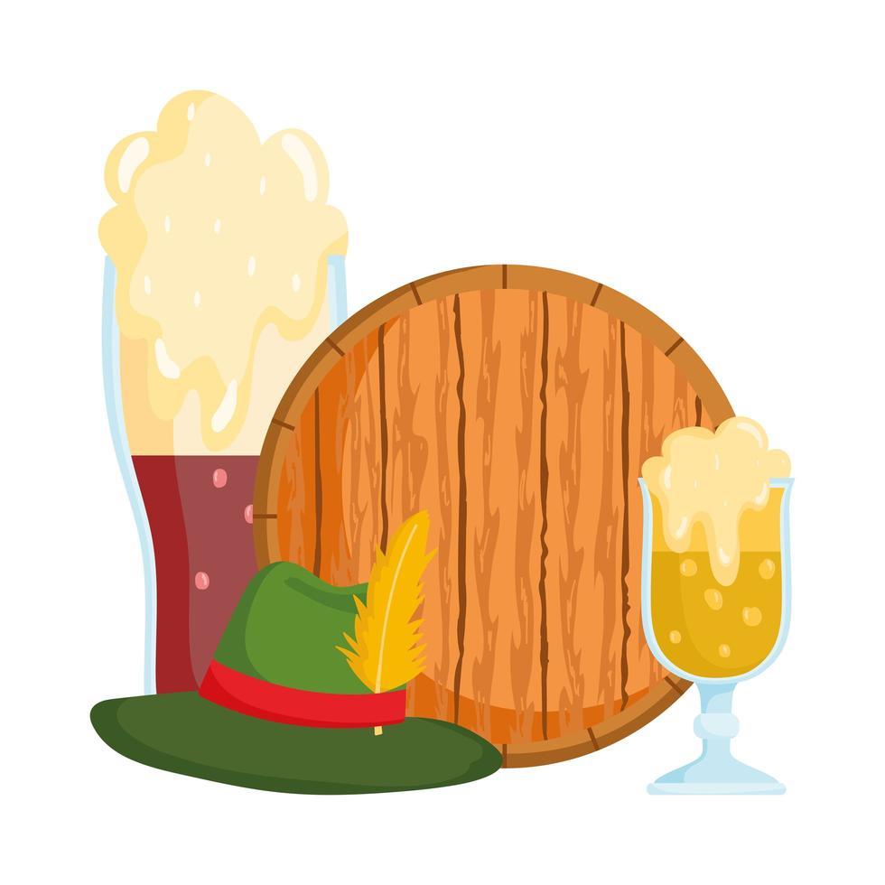 Oktoberfest-festival, bierhoed met veer en houten banner, traditionele Duitse viering vector