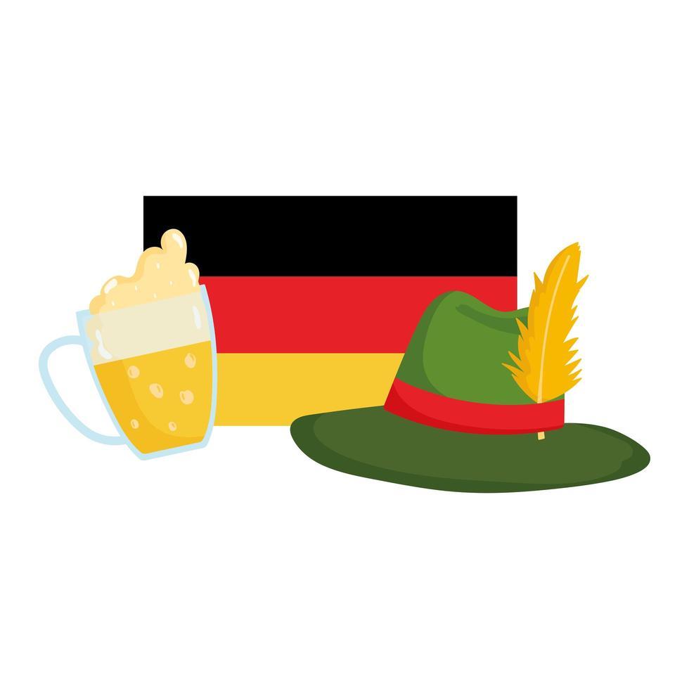 oktoberfestfestival, vlaggenhoed en bier traditionele Duitse viering vector