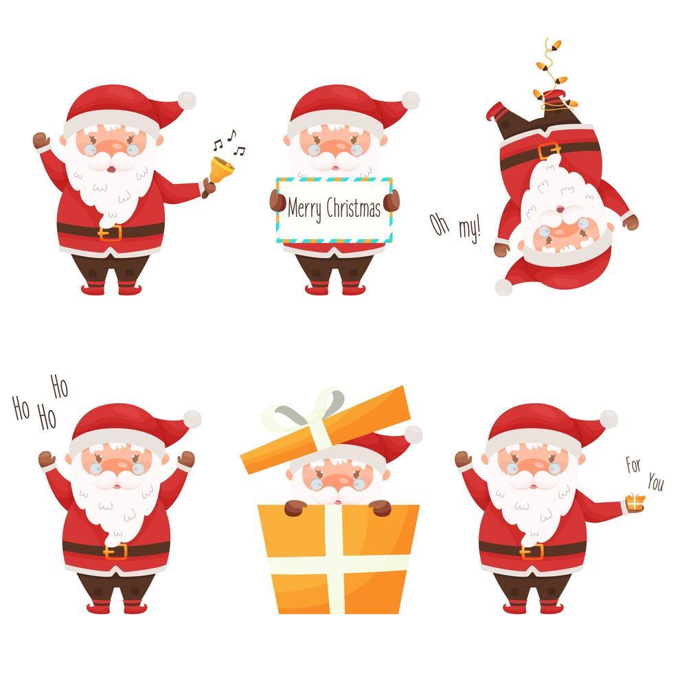 schattige cartoon kerstman tekenset. vector