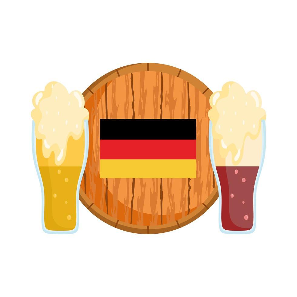 Oktoberfest-festival, bieren van de tap met vat en vlag, traditionele Duitse viering vector