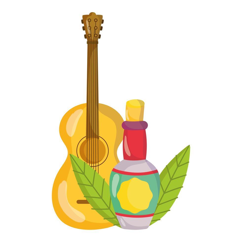 Mexicaanse onafhankelijkheidsdag, gitaarfles tequila, viva mexico wordt gevierd in september vector