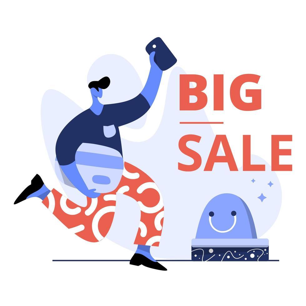 vlakke afbeelding van grote verkoop vector