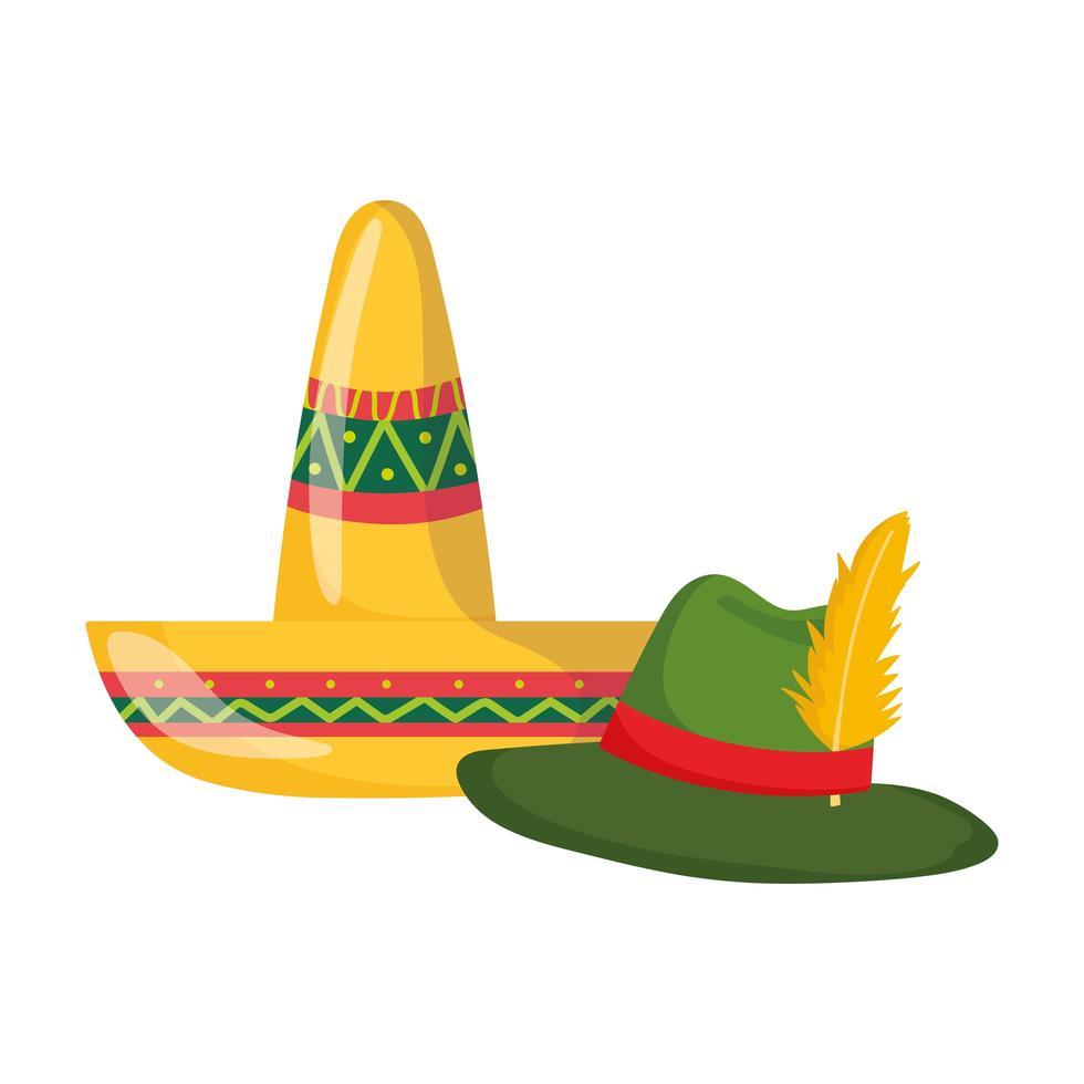 Mexicaanse en Duitse hoeden traditionele cultuur op witte achtergrond vector