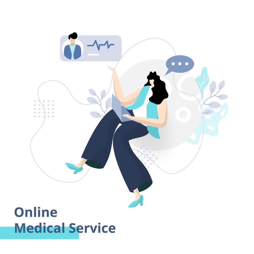 vlakke afbeelding van online medische dienst vector