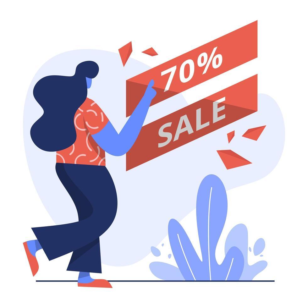 vlakke afbeelding van 70 verkoop vector