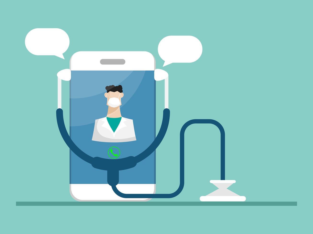doktersconsultatie met mobiele, online gezondheidszorg en medische diensten vector